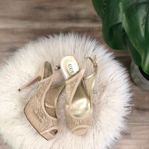 Guess Nude Lace Cream Slingback Heels Shoes Size 8